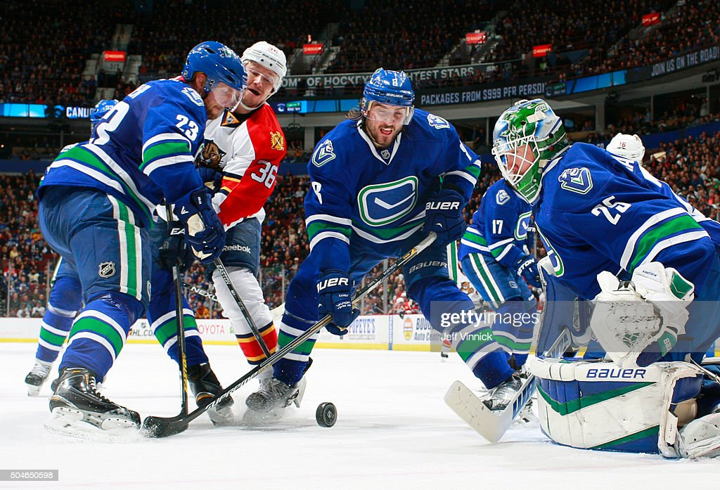 Alexander Edler #23 of the Vancouver Canucks, Jussi Jokinen #36 of the Florida Panthers and Christopher Tanev #8 of the Vancouver Canucks battle for a rebound after Jacob Markstrom #25 of the Vancouver Canucks makes a save during their NHL game against the Florida Panther at Rogers Arena January 11, 2016 in Vancouver, British Columbia, Canada. Vancouver won 3-2.