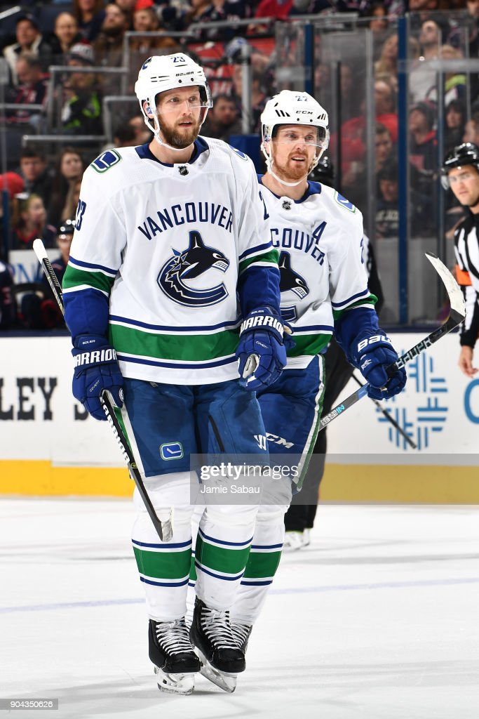 Alexander Edler #23 of the Vancouver Canucks reacts after scoring a goal during the second period of a game against the Columbus Blue Jackets on January 12, 2018 at Nationwide Arena in Columbus, Ohio.