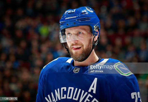 Alexander Edler of the Vancouver Canucks skates up ice during their NHL game against the Buffalo Sabres at Rogers Arena January 18 2019 in Vancouver...