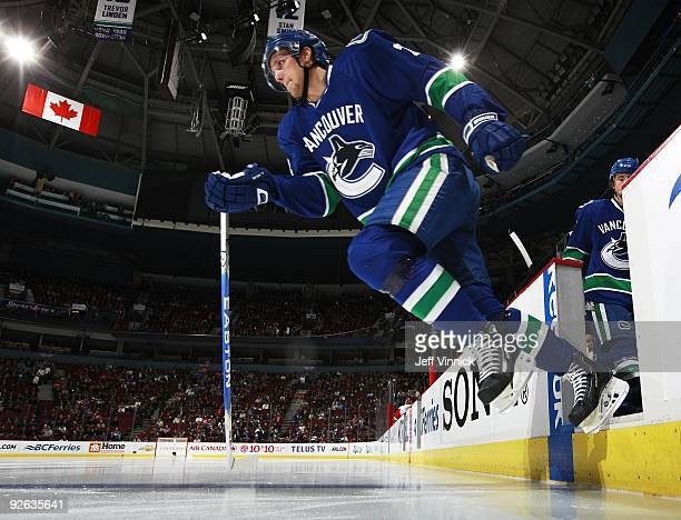 Alexander Edler of the Vancouver Canucks steps off the bench during their game against the Detroit Red Wings at General Motors Place on October 27...