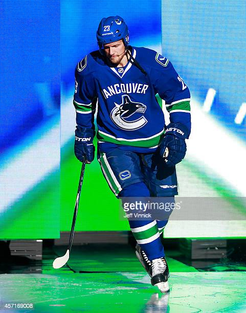 Alexander Edler of the Vancouver Canucks steps onto the ice during their NHL game against the Edmonton Oilers at Rogers Arena October 11 2014 in...