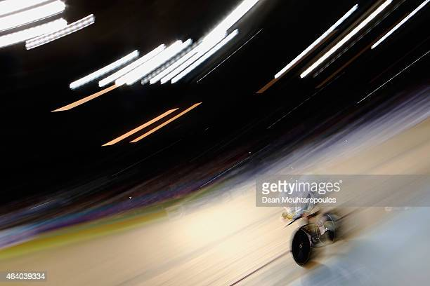 Alexander Edmondson of Australia Cycling Team competes in the Mens Individual Pursuit qualifying race during day 4 of the UCI Track Cycling World...