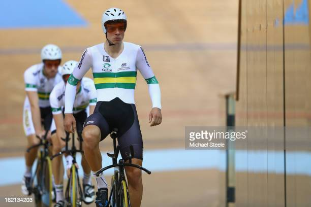 Alexander Edmondson of the Australia men's team pursuit leads his team mates during practise ahead of the UCI Track World Championships at Minsk...