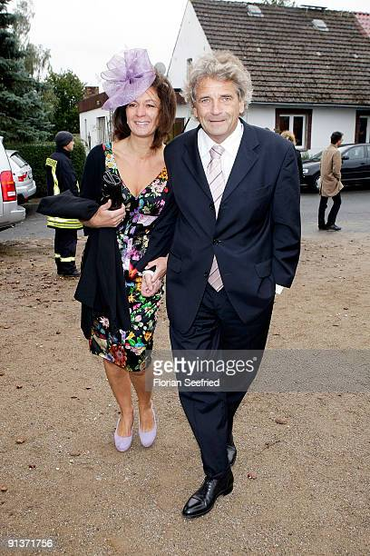 Alexander Elbertzhagen and guest arrive for the church wedding of Barbara Schoeneberger and Maximilian von Schierstaedt at the church of Rambow on...