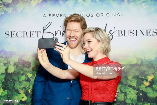Alexander England and Georgina Haig take a selfie at a preview screening of Secret Bridesmaids' Business at Palace Verona on September 11 2019 in...