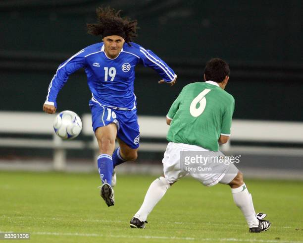 Alexander Escobar of El Salvador gets the ball past Walter Flores of Bolivia during an international friendly match at RFK Stadium on October 22 2008...