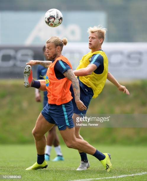 Alexander Esswein and Arne Maier of Hertha BSC during the training camp at the Athletic Area Schladming on august 7 2018 in Schladming Austria