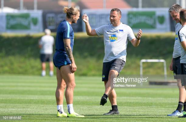 Alexander Esswein and coach Pal Dardai of Hertha BSC during the training camp on august 6 2018 in Schladming Austria