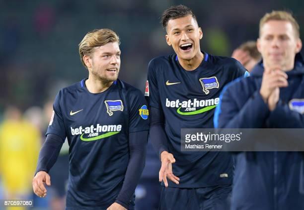 Alexander Esswein and Davie Selke of Hertha BSC after the game between VfL Wolfsburg and Hertha BSC on november 5 2017 in Wolfsburg Germany
