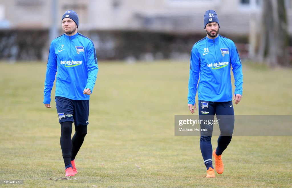 Alexander Esswein and Marvin Plattenhardt of Hertha BSC before the training session at the Schenkendorfplatz on march 13, 2018 in Berlin, Germany.