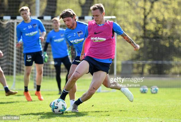 Alexander Esswein and Ondrej Duda of Hertha BSC during the training at the Schenkendorfplatz on april 17 2018 in Berlin Germany