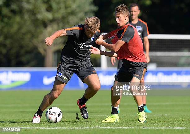 Alexander Esswein and Palko Dárdai of Hertha BSC during the training on september 6 2016 in Berlin Germany