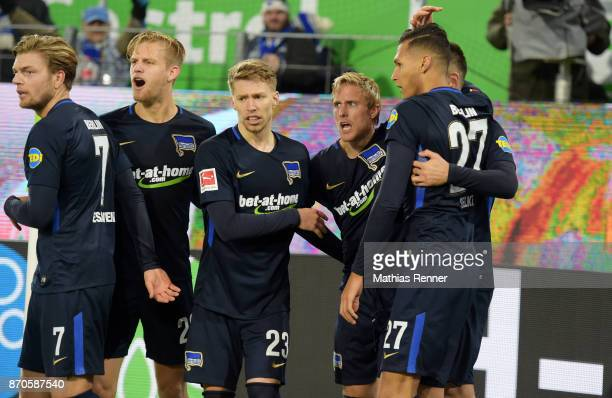 Alexander Esswein Arne Maier Mitchell Weiser Per Skjelbred and Davie Selke of Hertha BSC celebrate after scoring the 33 during the game between VfL...