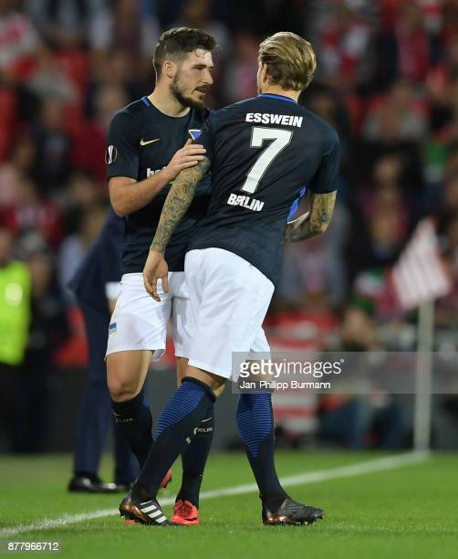 Alexander Esswein comes on during a substitute for Mathew Leckie of Hertha BSC during the UEFA Europe League Group J match between Athletic Bilbao...
