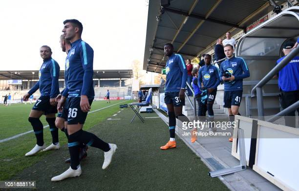 Alexander Esswein Fabian Lustenberger Muhammed Kiprit Derrick Luckassen of Hertha BSC Panzu Ernesto and Maximilian Storm of Hertha BSC U23 before the...