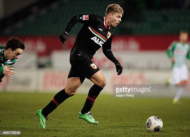 Alexander Esswein of Augsburg scores a goal during the friendly match between Greuther Fuerth and FC Augsburg at TrolliArena on January 18 2014 in...