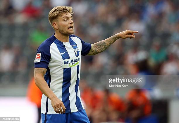 Alexander Esswein of Berlin gestures during the Bundesliga match between Hertha BSC and SC Freiburg at Olympiastadion on August 28 2016 in Berlin...