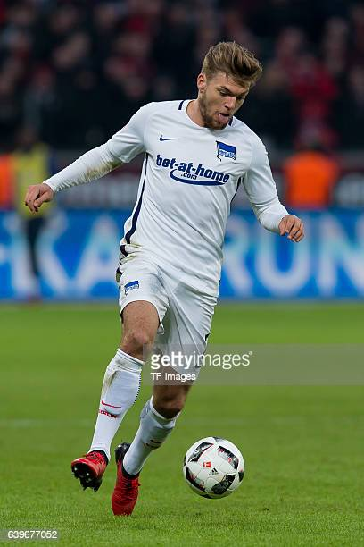 Alexander Esswein of Berlin in action during the Bundesliga match between Bayer 04 Leverkusen and Hertha BSC at BayArena on January 22 2017 in...