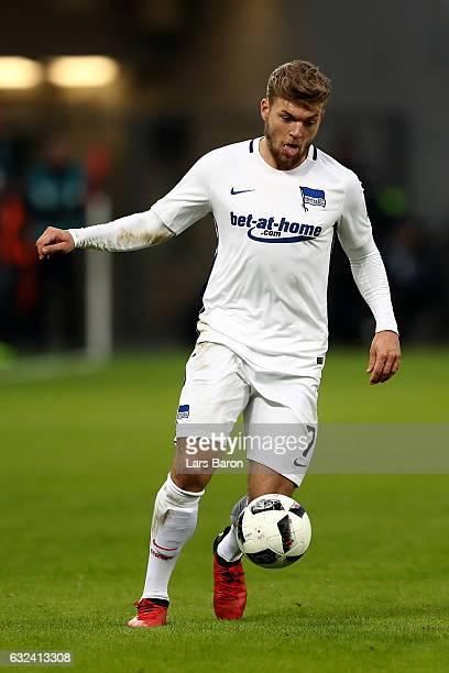 Alexander Esswein of Berlin runs with the ball during the Bundesliga match between Bayer 04 Leverkusen and Hertha BSC at BayArena on January 22 2017...