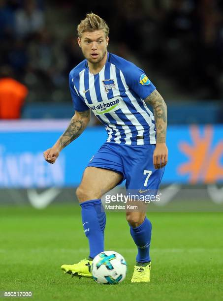 Alexander Esswein of Berlin runs with the ball during the Bundesliga match between Hertha BSC and Bayer 04 Leverkusen at Olympiastadion on September...