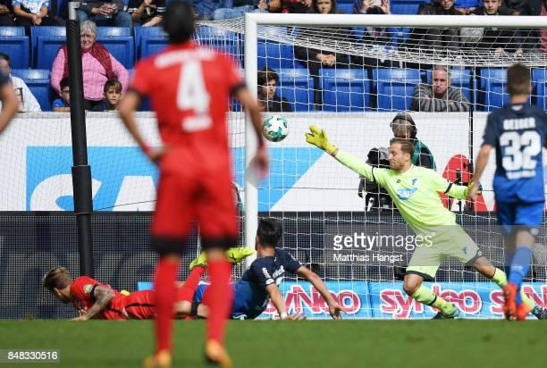 Alexander Esswein of Berlin scores his team's first goal during the Bundesliga match between TSG 1899 Hoffenheim and Hertha BSC at Wirsol...