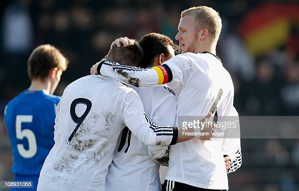 Alexander Esswein of Germany celebrates scoring the second goal with his team during the men's U20 International friendly match between Germany and...