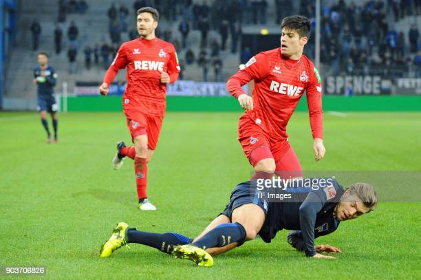 Alexander Esswein of Hertha and Jorge Mere of Koeln in action during the HHotelscom Wintercup match between Hertha BSC and 1 FC Koeln at SchuecoArena...
