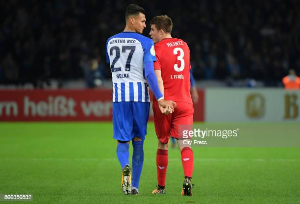 Alexander Esswein of Hertha BSC and Dominique Heintz of 1st FC Koeln during the game between Hertha BSC and 1st FC Koeln on october 25 2017 in Berlin...