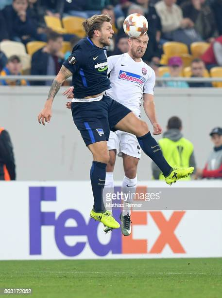 Alexander Esswein of Hertha BSC and Evgen Opanasenko of FC Zorya Luhansk during the Europa League group J game between Zorya Luhansk against Hertha...