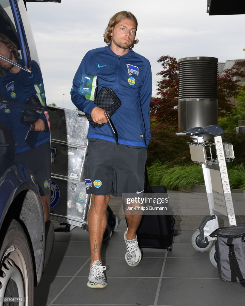 Alexander Esswein of Hertha BSC during a training camp on July 12, 2018 in Neuruppin, Germany.