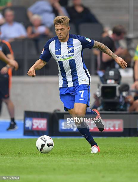 Alexander Esswein of Hertha BSC during the season beginning match between Hertha BSC and SC Freiburg on August 28 2016 in Berlin Germany