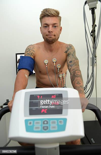 Alexander Esswein of Hertha BSC on the ergometer during the check up on august 25 2016 in Berlin Germany