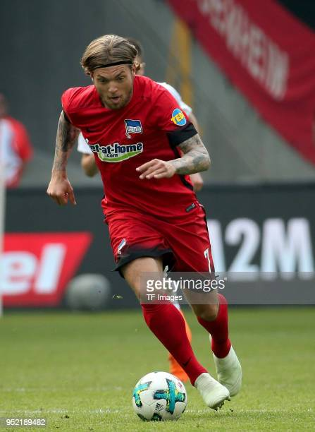 Alexander Esswein of Hertha controls the ball during the Bundesliga match between Eintracht Frankfurt and Hertha BSC at CommerzbankArena on April 21...