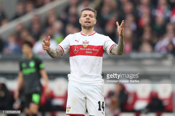 Alexander Esswein of VfB Stuttgart reacts during the Bundesliga match between VfB Stuttgart and Hannover 96 at MercedesBenz Arena on March 3 2019 in...