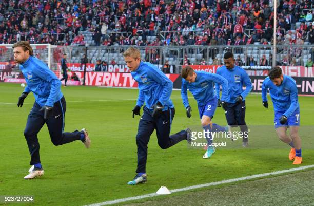 Alexander Esswein Per Skjelbred Peter Pekarik Salomon Kalou and Mathew Leckie of Hertha BSC before the Bundesliga match between FC Bayern Muenchen...