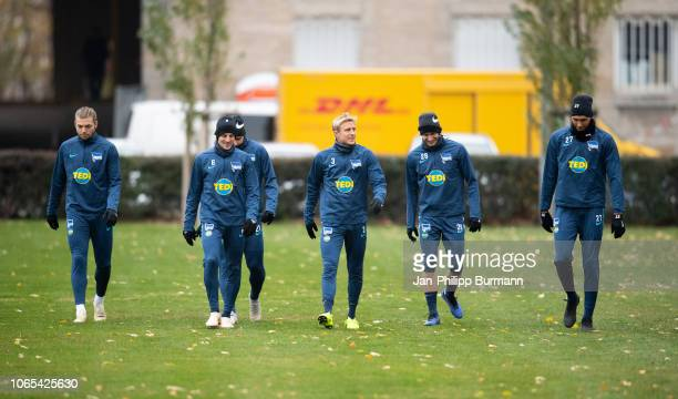 Alexander Esswein Vladimir Darida Per Skjelbred Fabian Lustenberger and Davie Selke of Hertha BSC during the training session at Schenkendorfplatz on...