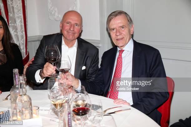 Alexander Fackelmann CEO and owner Fackelmann GmbH Georg Freiherr von Waldenfelsduring the UniCredit and GallerCompany business dinner on March 18...