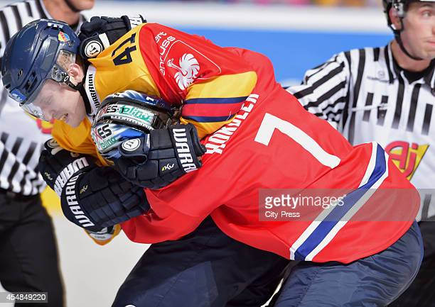 Alexander Falk Djurgarden Hockey and Frank Hoerdler of Eisbaeren Berlin fight during the game between Eisbaeren Berlin and Djurgarden Stockholm on...