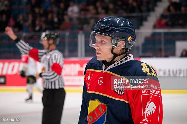 Alexander Falk during of Djurgarden Stockholm the Champions Hockey League match between Djurgarden Stockholm and Rouen Dragons at Hovet Arena on...