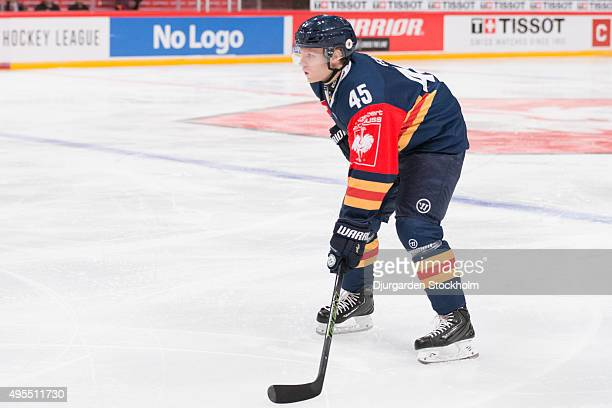 Alexander Falk of Djurgarden during the Champions Hockey League round of eight game between Djurgarden Stockholm and Lukko Rauma at Globen Arena on...