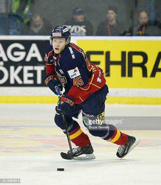 Alexander Falk of Djurgarden Hockey skates against Linkoping HC at Hovet Arena on February 18 2016 in Stockholm Sweden