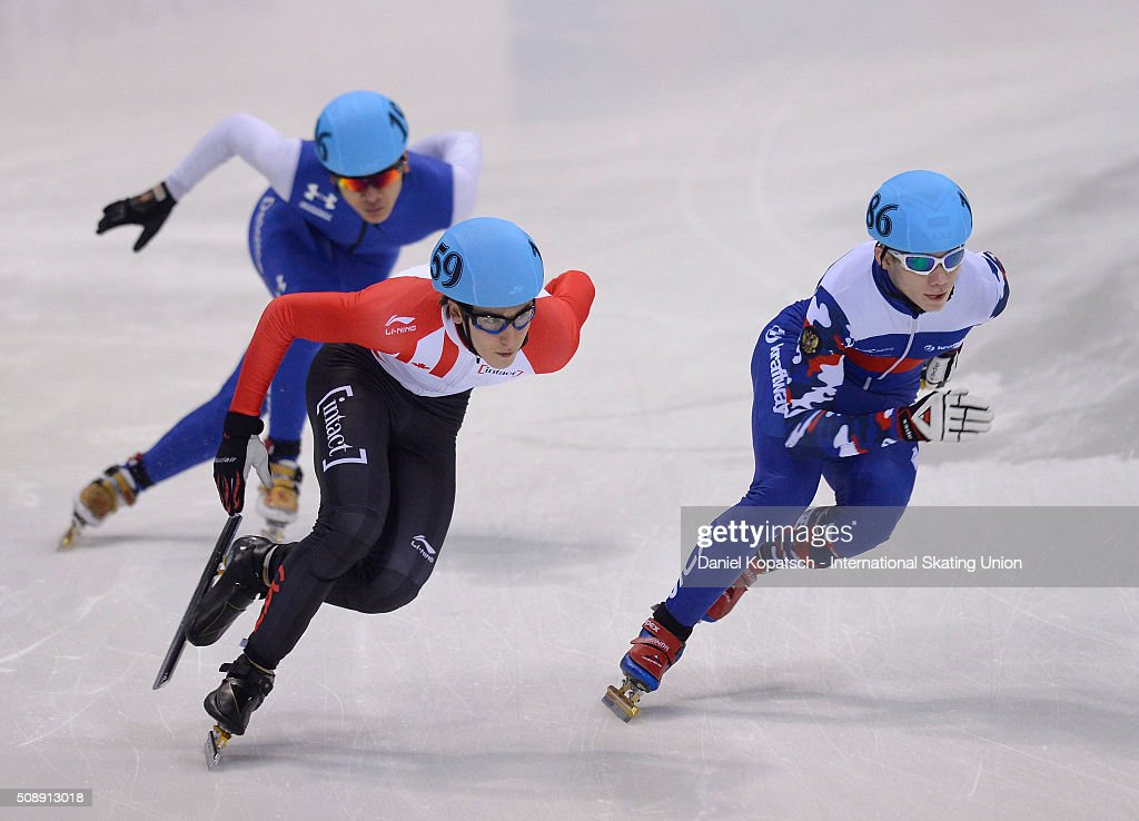 Alexander Fathoullin of Canada leads the Men 5000 M Relay Final during day two of the ISU World Cup Short Track Speed Skating at EnergieVerbund Arena on February 7, 2016 in Dresden, Germany.