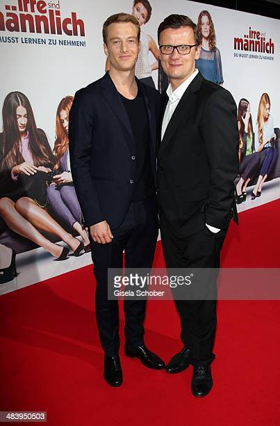 Alexander Fehling and director of Constantin Film Torsten Koch attend the premiere of the film 'Irre sind maennlich' at Mathaeser Filmpalast on April...
