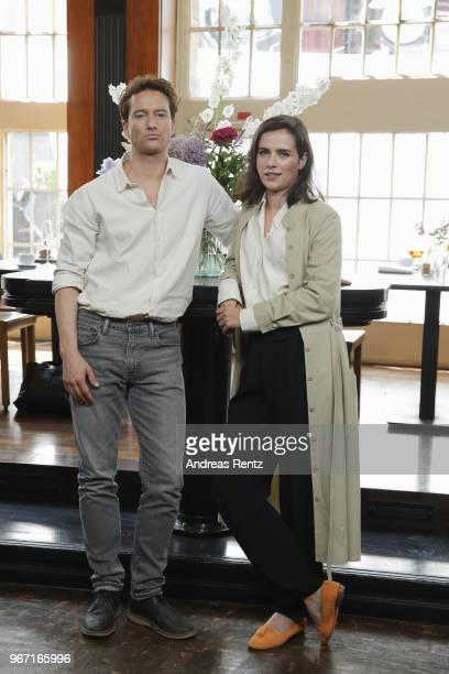 Alexander Fehling and Nora Tschirner pose during 'Gut gegen Nordwind' on set photocall on June 4 2018 in Cologne Germany