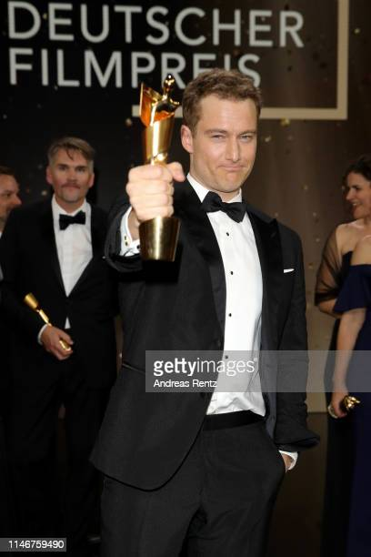 Alexander Fehling winner best male supporting role poses during the Lola German Film Award show at Palais am Funkturm on May 03 2019 in Berlin Germany