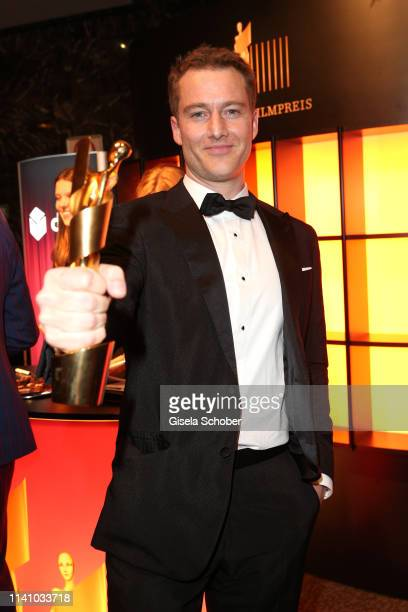Alexander Fehling winner of Best Supporting Actor poses with award during the Lola German Film Award party at Palais am Funkturm on May 3 2019 in...