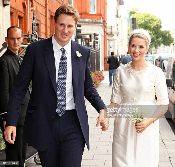 Alexander Fellowes and Alexandra Finlay arrive at Claridges Hotel for their wedding reception following their wedding ceremony at the Chapel of St...