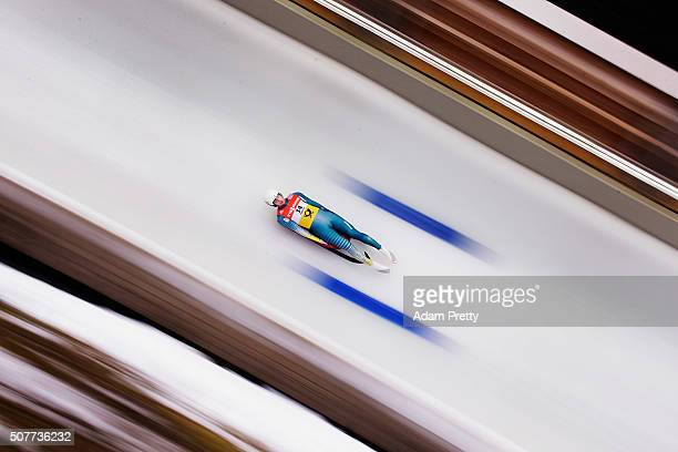 Alexander Ferlazzo of Australia completes his first run in the Men's Luge during Day 2 of the Luge World Championships at Deutsche Post Eisarena...