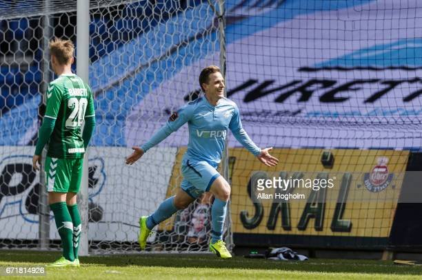 Alexander Fischer of Randers FC celebrates after scoring their third goal during the Danish Alka Superliga match between Randers FC and OB Odense at...