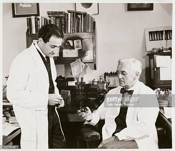 Alexander Fleming St Mary's Hospital Paddington London 1945 A photograph of Professor Alexander Fleming [18811955] in his laboratory with Mr Suchet a...
